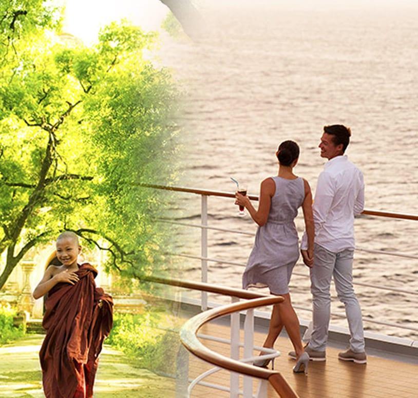 Paar auf Kreuzfahrtschiff an Reling und Mönchsjunge in traditionellem Gewand