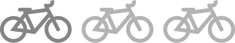Drei Fahrräder als Symbol in einer Reihe