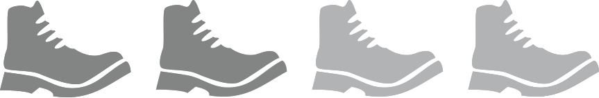 Vier graue Wanderstiefel