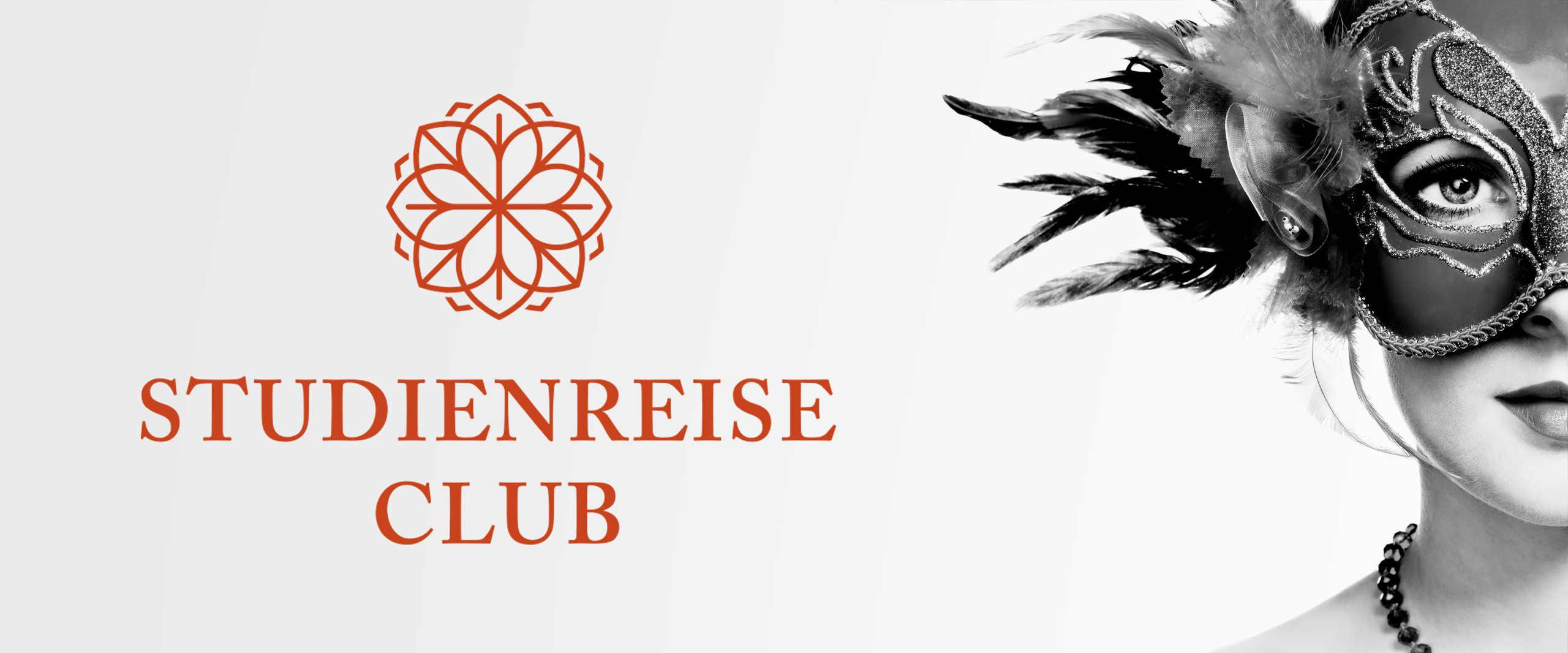 Frau mit venezianischer Maske und Studienreise Club Logo
