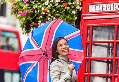 Frau mit Großbritannien Flagge auf Regenschirm vor roter Telefonzelle
