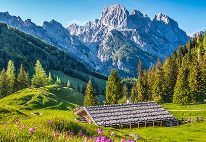 Blick auf die Alpen in Österreich