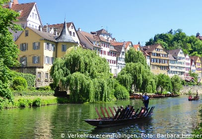 Stocherkahn in Tübingen, Baden-Württemberg