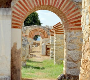 Gebäude des Theaters Philippi in Krinides, Griechenland