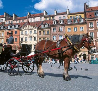 Pferdekutsche in der Warschauer Altstadt
